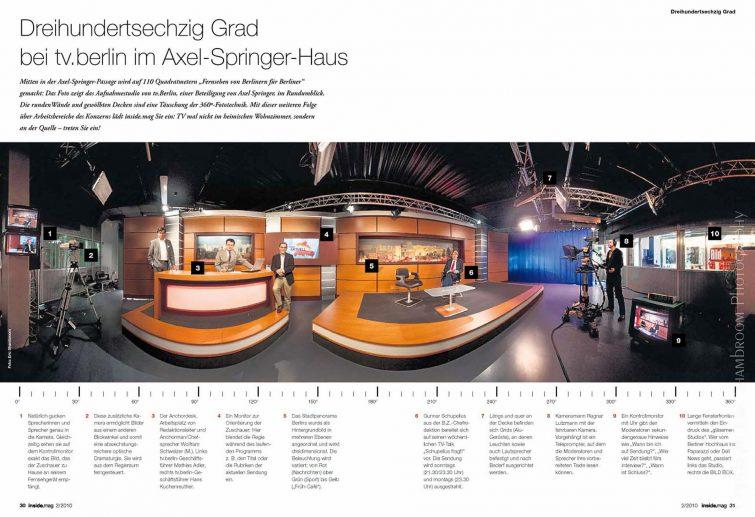 Fernsehstudio tv.berlin Axel Springer: 360° Panoramafoto | © Eric Shambroom Photography